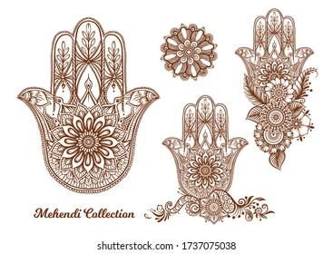 Ornate hand drawn hamsa set. Popular Arabic and Jewish amulet. Vector illustration. Outline vector illustration, isolated on white background.