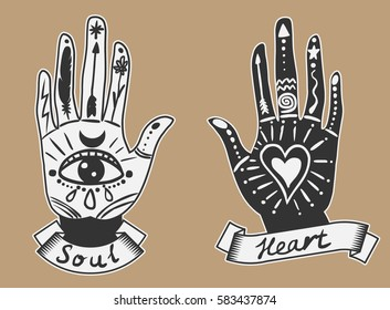 Ornate hands with sacred symbols in bohemian style. Hand drawn vector illustration.