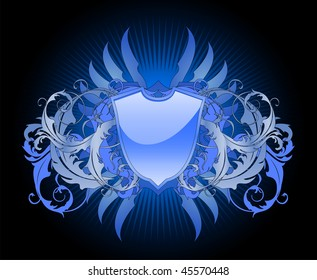 An ornate heraldic shield