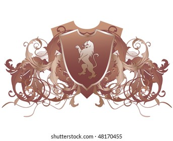 An ornate heraldic shield with lion