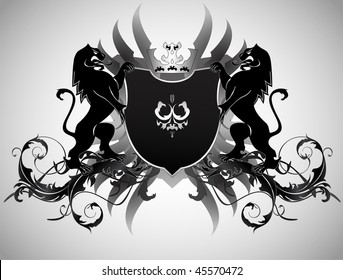 An ornate heraldic shield with lions