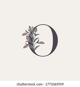 Ornate Initial Letter O logo icon, vector letter with flower and natural leaf clipart designs.