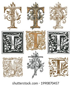 Ornate initial letter T with a vintage Baroque ornament. Vector illustration of capital letters T with decorations. Beautiful filigree uppercase letters for monogram, logo, emblem, card, invitation