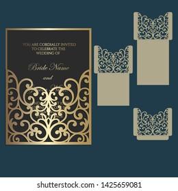 Ornate Laser cut wedding invitation pocket fold envelope design. Cutting plotter template.