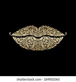 Ornate lips icon logo