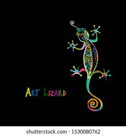 Ornate lizard colorful isolated on black for your design. Vector illustration