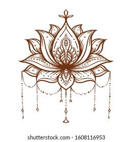 Ornate Lotus flower. Ayurveda symbol of harmony and balance and universe. Tattoo design, yoga logo. Boho print, poster, t-shirt textile. Isolated outline vector illustration.