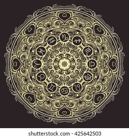 Ornate mandala and zodiac circle with horoscope signs on black background. Vintage hand drawn vector illustration
