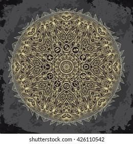 Ornate mandala and zodiac circle with horoscope signs on dark grunge background. Vintage hand drawn vector illustration