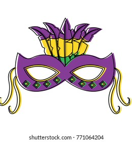 ornate mardi gras carnival mask with feathers festival