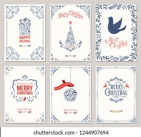 Ornate Merry Christmas greeting cards templates. Vector illustration.