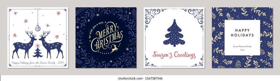 Ornate Merry Christmas greeting cards. Trendy square Winter Holidays art templates. Suitable for social media post, mobile apps, banner design and web/internet ads. Vector fashion background.