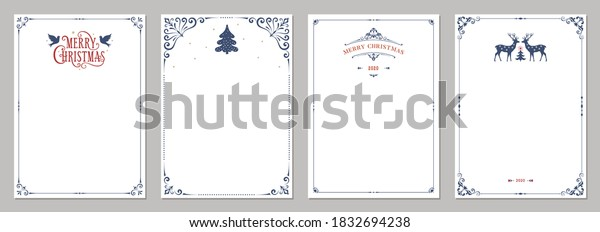 Ornate Merry Christmas greeting cards. Universal trendy business and corporate Winter Holidays art templates. Vector backgrounds.