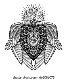 Ornate mystic eye inside the the decorative heart,with wings. Vintage alchemy and gothic style inspired art. Vector illustration isolated. Tattoo design, trendy romance symbol for your use.