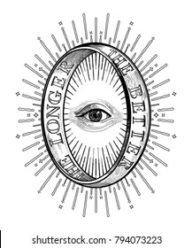Ornate mystic eye inside the decorative ring with an inscription . Vintage alchemy and gothic style inspired art. Vector illustration isolated. Tattoo design, trendy romance symbol for your use.