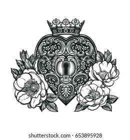 Ornate mystic key hole inside the the decorative heart with beautiful wild roses and crown. Vintage style inspired art.Vector illustration isolated.Tattoo design, trendy romance symbol for your use.