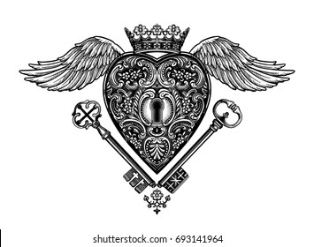Ornate mystic key hole inside the the decorative heart with wings, crown and keys.Vintage style inspired art.Vector illustration isolated.Tattoo design, trendy romance symbol for your use.
