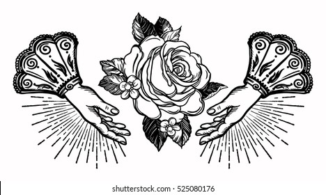 Ornate old fashioned hands and elegant vintage rose flower. Isolated vector illustration. Victorian motif, retro style art, flash tattoo design element.