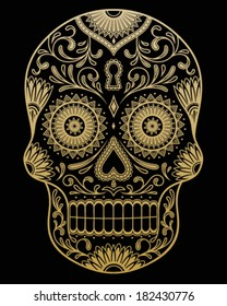 Ornate One Color Day of the Dead Sugar Skull Vector