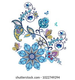 Ornate ornament with Fantastic flowers with paisley and butterflies.Vector illustration.