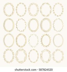 Ornate oval borders. Golden vector illustration. Isolated.