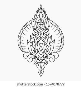 ornate pattern hand drawn design element.  spirituality, occultism, textiles art. Vector illustration