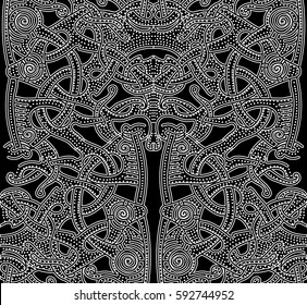 Ornate patterns of the Vikings. Background with hand drawn element of the Vikings. Seamless abstract pattern for printing on paper, fabric, clothes. Art videos black and white picture. Celtic knots.