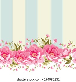 Ornate pink flower border with tile. Elegant Vintage wallpaper design. Vector illustration.
