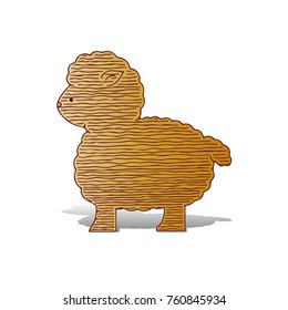 Ornate ram (sheep sacrifice Kurban-bairam), cartoon on white background, vector