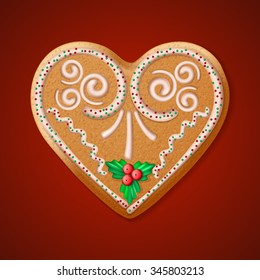 Ornate realistic vector traditional Christmas gingerbread heart. Vector illustration EPS10