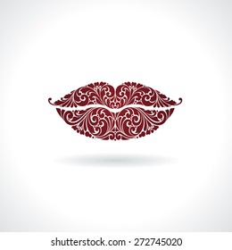 Ornate red lips icon logo kiss red lipstick