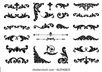 Ornate scroll and decorative design elements. Vintage Vignette Borders Set. Calligraphic Vector illustration isolated.