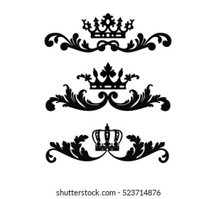 Ornate scroll and decorative design elements with crown. Vintage Vignette Borders Set. Calligraphic Vector illustration isolated on white background.