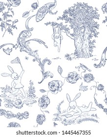 Ornate seamless pattern in toile de jouy style. Cute bunnies on picnic surrounded with birds and flowers.