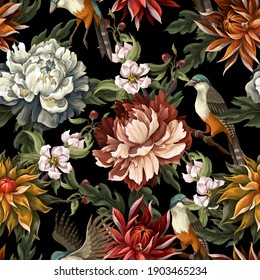 Ornate seamless pattern with vintage peonies, roses and birds. Vector