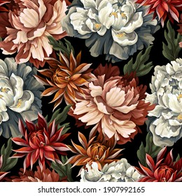 Ornate seamless pattern with vintage peonies, roses and chrysanthemums. Vector