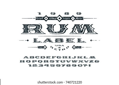 Ornate serif extended font in retro style. Letters and numbers with rough texture for logo, label and signboard design. Print on white background