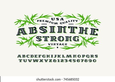 Ornate serif font in retro style. Absinthe label template. Letters and numbers for logo, label and signboard design. Print on white background