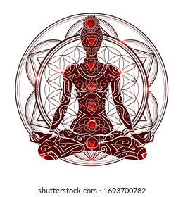 Ornate silhouette with chakras meditating in lotus position on the background of the mandala. Yoga position