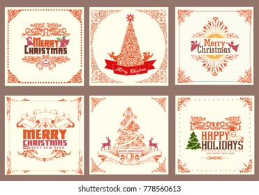 ornate square winter holiday greeting cards style color