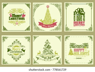 ornate square winter holiday greeting cards. green theme.