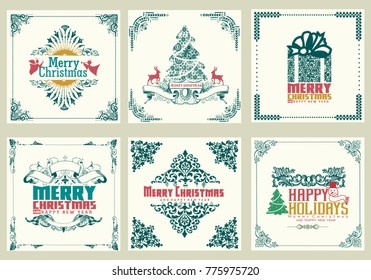 Ornate square winter holidays greeting cards with new year tree gift bo, christmas ornaments swirl frames and typographic design. vintage vector illustration