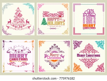 ornate square winter holidays greeting cards full color
