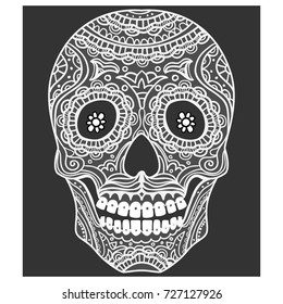 Ornate Sugar Skull. Calavera is the Mexican national symbol of the Day of the Dead.