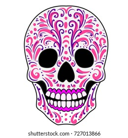 Ornate Sugar Skull.Calavera is the Mexican national symbol of the Day of the Dead.