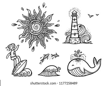 Ornate sun, surfer on wave, fishes, whale and lighthouse line art vector designs isolated on white background. Surfing stickers set.