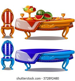 Ornate table with fruit. Vector.