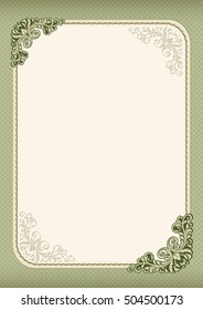 Ornate template for diploma, certificate, advertisement. Retro vintage style. Flourishes, polka dot background. A4 page format.
