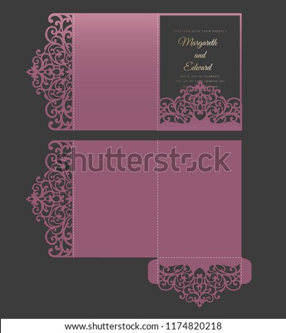 ornate tri fold invitation template wedding stock vector royalty