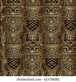 ornate tribal seamless golden pattern with paisley elements, mehendi, oriental elements